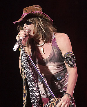 Singer Steven Tyler of the U.S. rock band Aerosmith performs during their concert in Guadalajara, Mexico, Friday, April 20, 2007. (AP Photo/Guillermo Arias)