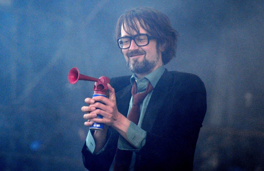 Jarvis Cocker of Pulp performs during the second day of the Isle of Wight festival