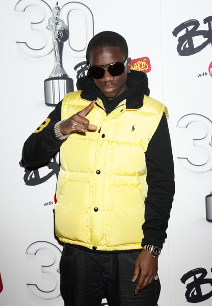 Tinchy Stryder arrives for the Brit Awards 2010 nominations launch at the IndigO2 in south east London.