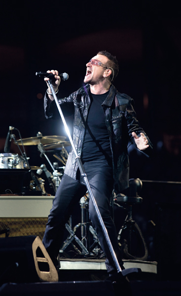 U2 perform  live during the '360¡ Tour'  at Hampden Park, Glasgow, Scotland. Tuesday 18th August , 2009 . 