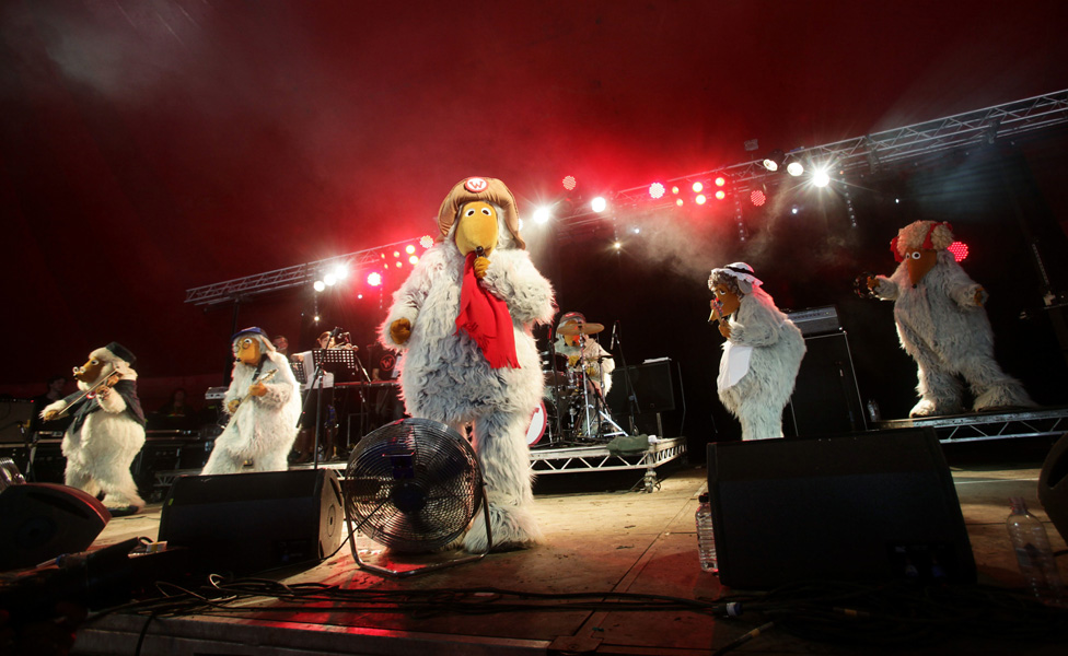 The Wombles performing on the Avalon Stage at the Glastonbury Music Festival held at Worthy Farm, Pilton.