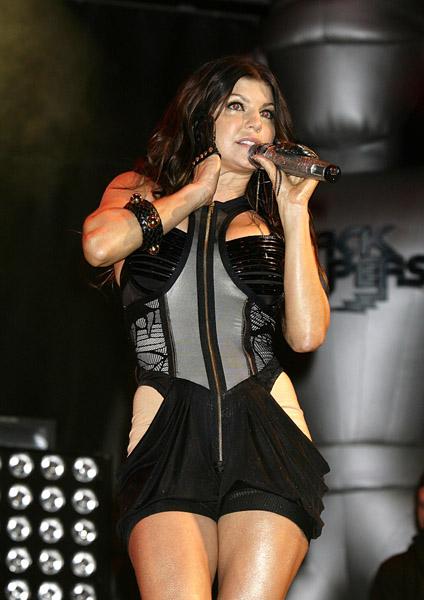 Fergie of Black Eyed Peas performing during the 2009 Glastonbury Festival at Worthy Farm in Pilton, Somerset.