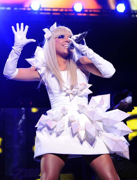 Singer Lady Gaga performs at Z100 Jingle Ball 2008 at Madison Square Garden on Friday, Dec. 12, 2008 in New York. (AP Photo/Evan Agostini)