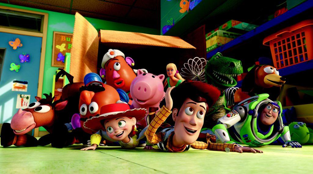 TOY STORY 3(L-R) Bullseye, Mr. Potato Head, Mrs. Potato Head, Jessie, Hamm, Barbie, Woody, Rex, Slinky Dog, Buzz Lightyear,  Aliens ©Disney/Pixar.  All Rights Reserved.