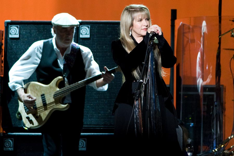 John Mcvie and Stevie Nicks of Fleetwood Mac perform at Madison Square Garden, Thursday, March 19, 2009, in New York. (AP Photo/Charles Sykes)