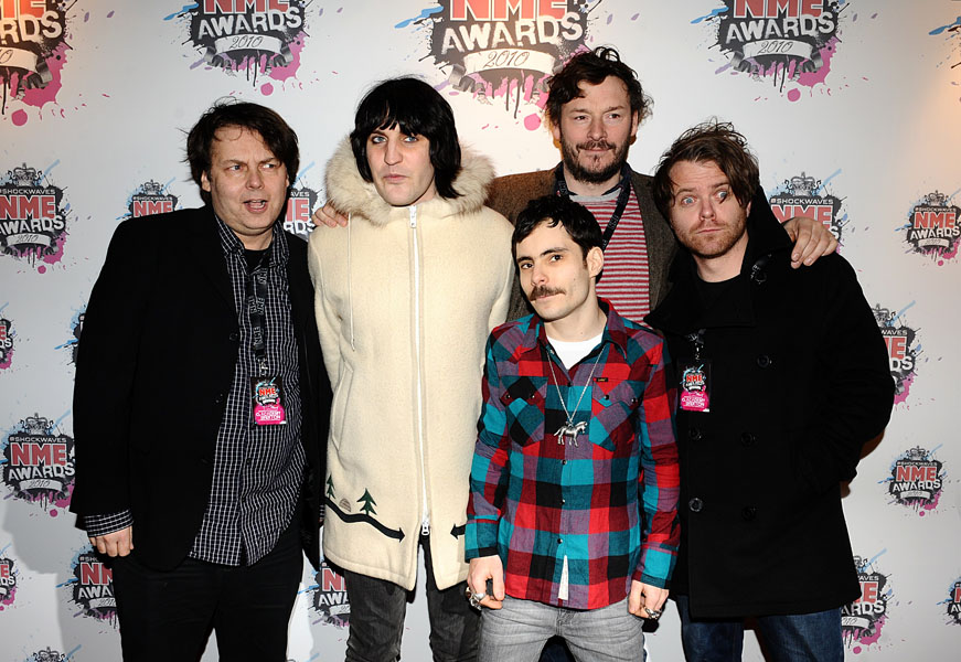 (left to right) Rich Fulcher, Noel Fielding, Michael Fielding, Julian Barratt and Dave Brown of The Mighty Boosh arriving for the 2010 Shockwaves NME Awards at the O2 Academy, Brixton, London