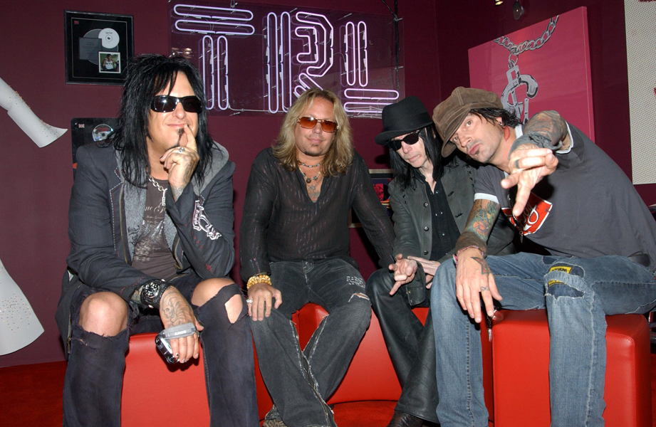 Motley Crue during their guest appearance on MTV's TRL - Total Request Live-show.