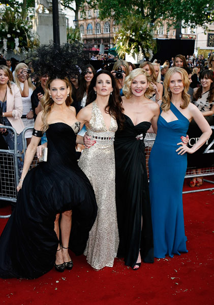 (L-R) Sarah Jessica Parker, Cynthia Nixon, Kristin Davis and Kim Cattrall arriving for the UK premiere of Sex and the City 2 at the Odeon, Leicester Square, London.
