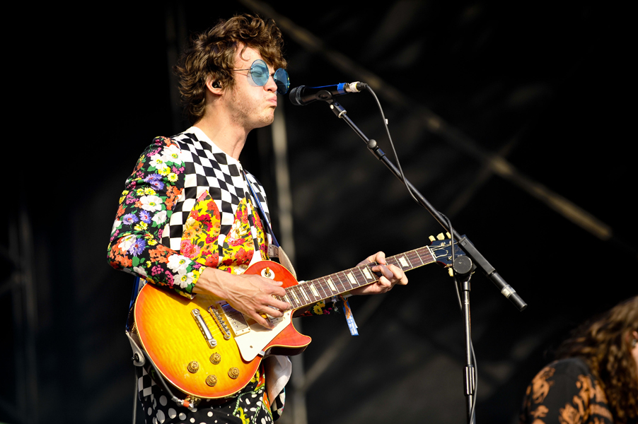 MGMT lead singer Andrew Van Wyngarden performs on the Other Stage on the last day of Glastonbury Festival 2010, at Worthy farm in Pilton, Somerset.