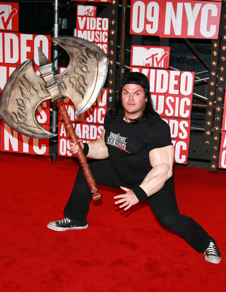 Actor Jack Black arrives at the MTV Video Music Awards on Sunday, Sept. 13, 2009 in New York.  (AP Photo/Charles Sykes)