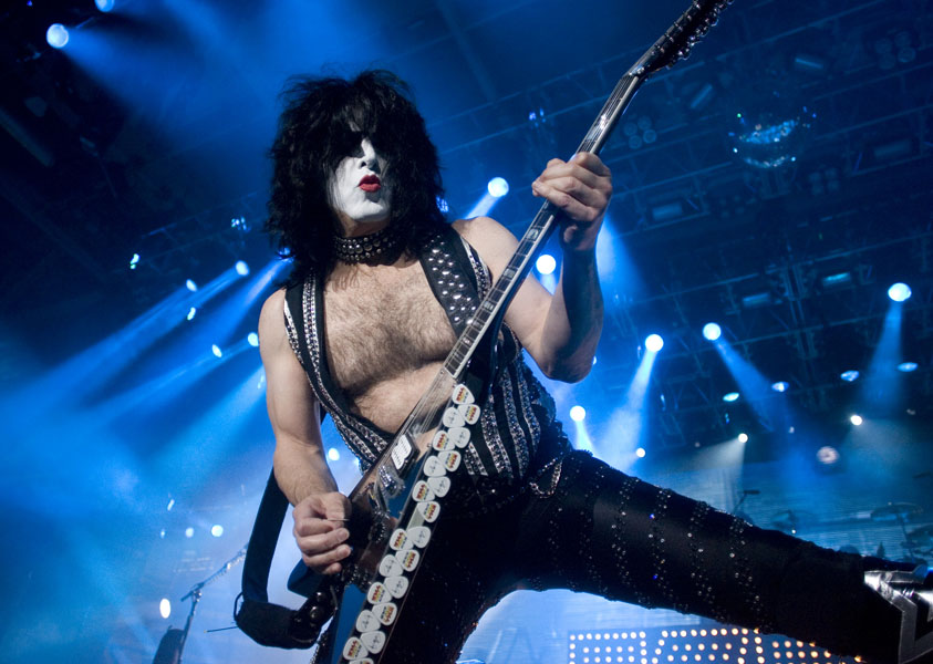 Kiss' Paul Stanley performs at the General Motors Centre in Oshawa, Ontario during the band's north American tour on Wednesday October 7, 2009. THE CANADIAN PRESS/Chris Young
