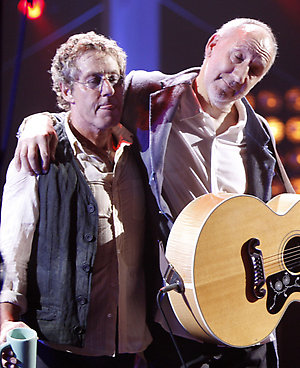 Roger Daltrey, left, and Pete Townsend, of the Who, are seen at the end of there performance at the VH1 Rock Honors ÒThe WhoÓ on Saturday July 12, 2008 in Los Angeles. (AP Photo/Matt Sayles)