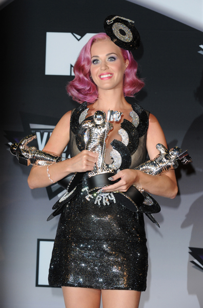 Katie Perry backstage at the MTV Video Music Awards 2011 at Nokia Theatre L.A. LIVE in Los Angeles, USA.