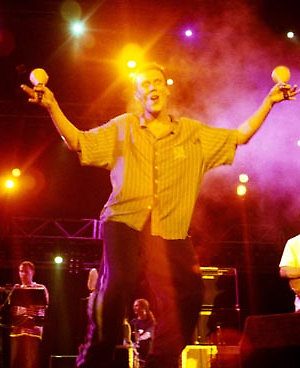 Bez from the Happy Mondays on stage at the Rock in Rio concert.