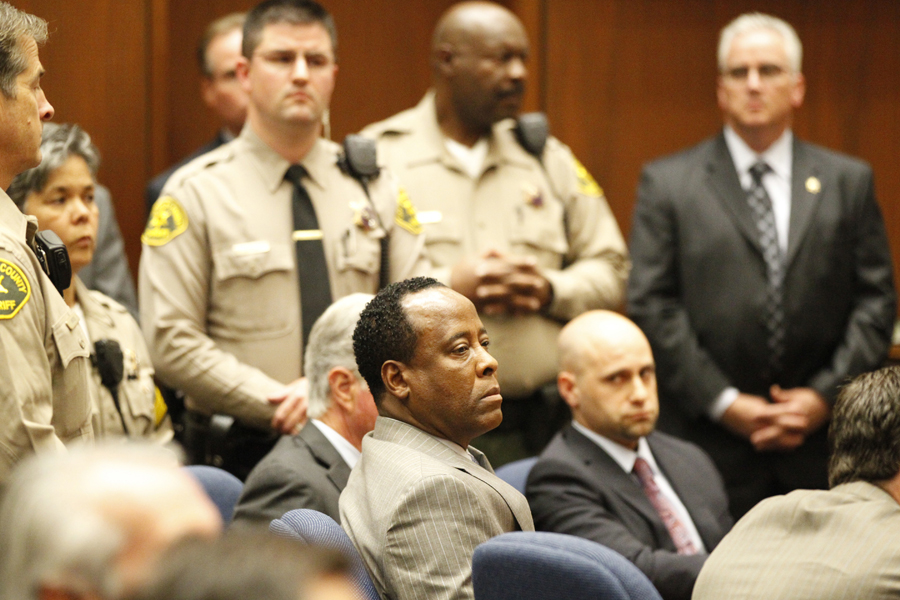 LOS ANGELES, CA NOVEMBER 7, 2011 -- Dr. Conrad Murray reacts after the jury returned with a guilty verdict in his involuntary manslaughter trial Monday, November 7, 2011 in a Los Angeles courtroom . Murray was convicted for the 2009  death of pop singer Michael Jackson  from an overdose of the powerful anesthetic propofol. (Al Seib / Los Angeles Times / Pool)