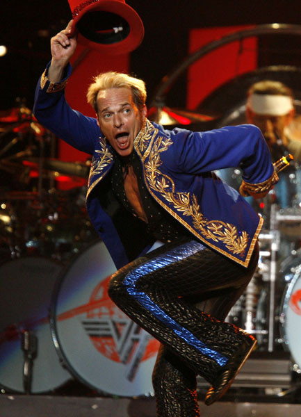 David Lee Roth performs with Van Halen at Madison Square Garden Friday, May 23, 2008 in New York. (AP Photo/Jason DeCrow)