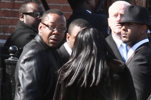 Bobby Brown stands outside of the funeral service for Whitney Houston in Newark, New Jersey, USA on February 18, 2012.