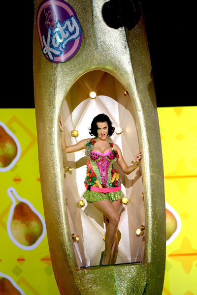 Katy Perry performs on stage at the 51st annual Grammy Awards in Los Angeles.