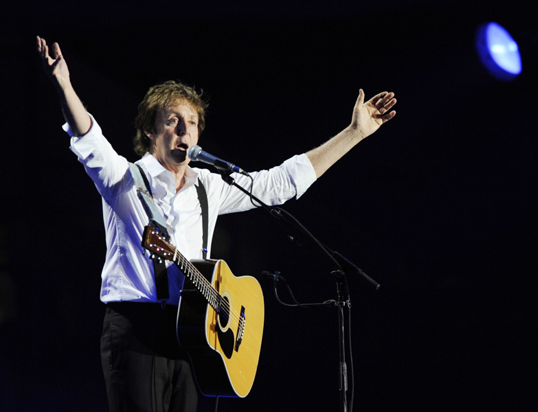 Paul McCartney performs during his headlining set on the first day of the Coachella Valley Music & Arts Festival in Indio, Calif., Saturday, April 18, 2009. (AP Photo/Chris Pizzello)