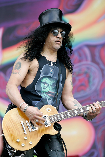 Slash performs on stage during day 3 at the 2010 Download Festival in Castle Donnington, Leicestershire.