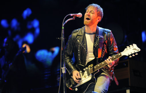 Dan Auerbach of The Black Keys performs during the band's headlining set on the first weekend of the 2012 Coachella Valley Music and Arts Festival, Friday, April 13, 2012, in Indio, Calif. (AP Photo/Chris Pizzello)