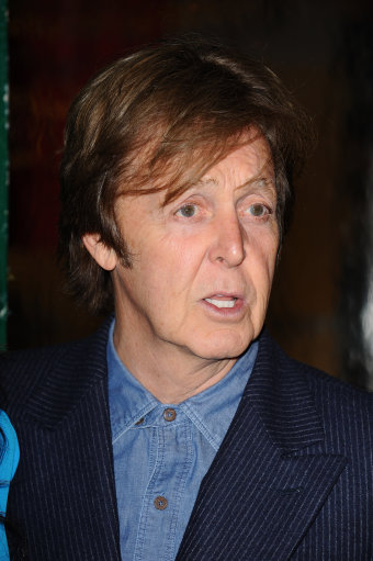 "Paul McCartney attends the world premiere of the video ""My Valentine"" at the Stella McCartney Boutique on April 13, 2012 in Los Angeles, California."