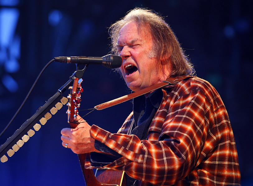 Neil Young performing during the Isle of Wight festival, in Newport on the Isle of Wight.