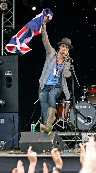 Pete Doherty performs on the Park stage at the 2007 Glastonbury Festival at Worthy Farm in Pilton, Somerset.