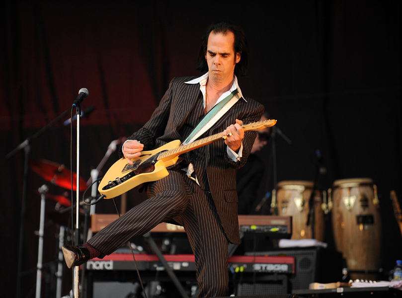 Nick Cave of Nick Cave and the Bad Seeds performing during the 2009 Glastonbury Festival at Worthy Farm in Pilton, Somerset.