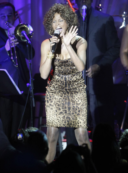 Singer Whitney Houston performs at the Clive Davis pre-Grammy party in Beverly Hills, Calif. on Saturday, Feb. 7, 2009. (AP Photo/Dan Steinberg)