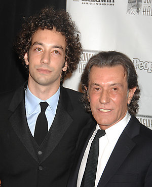 Musician Albert Hammond Jr., left, and inductee Albert Hammond arrive at the 2008 Songwriters Hall of Fame induction ceremony on Thursday, June 19, 2008, in New York. (AP Photo/Peter Kramer)