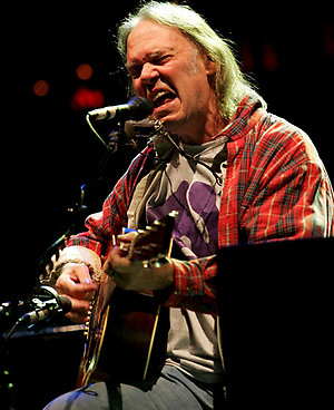 Neil Young perorms at the Bridge School Benefit  at Shoreline Amphitheatre in Mountain View California.