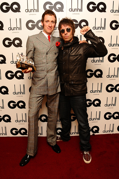 Liam Gallagher with Lifetime Achievement Award Winner Bradley Wiggins at the 2012 GQ Men Of The Year Awards at the Royal Opera House, Bow Street, London