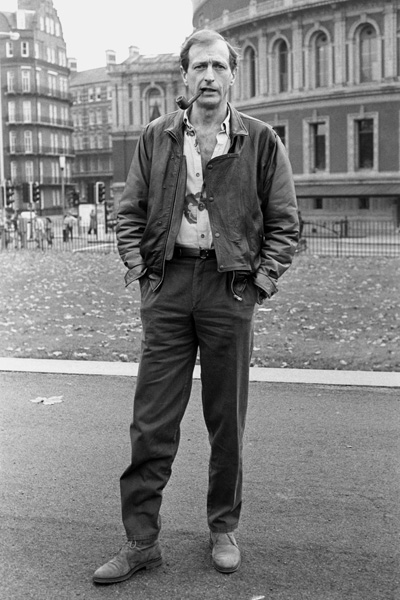 Graham Chapman of Monty Python fame, outside the Royal Albert Hall where he will appear in a concert to raise funds for the Ethiopian famine victims.