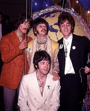 The Beatles: (l-r) George Harrison, Paul McCartney (front), Ringo Starr, John Lennon