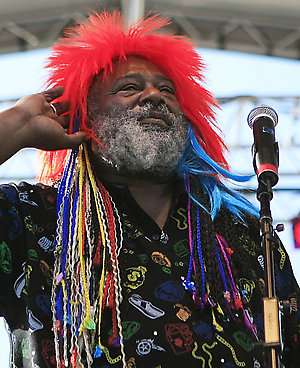 George Clinton performs during Comerica's TasteFest in Detroit on Sunday, July 6, 2008. (AP Photo/The Detroit News, Elizabeth Conley) ** DETROIT FREE-PRESS OUT **