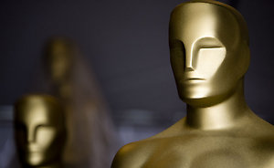 Oscar statues wait for scenic artists to paint on the final touches as preparations continue for the 81st annual Academy Awards in Hollywood, California.