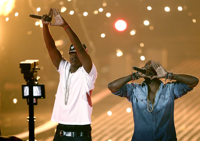 Jay-Z, left, and Kanye West perform at the MTV Video Music Awards on Sunday Aug. 28, 2011, in Los Angeles. (AP Photo/Matt Sayles)