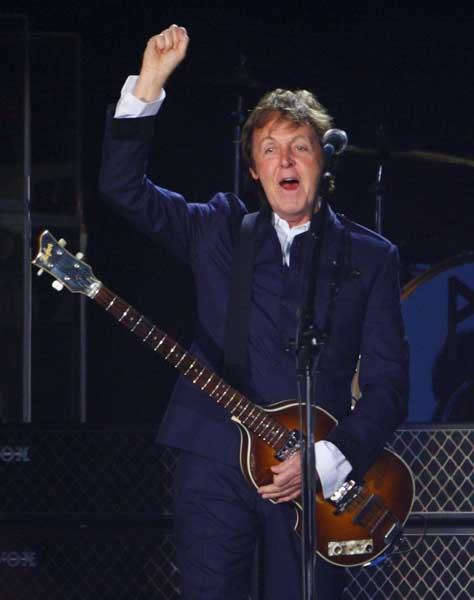 Sir Paul McCartney performs on the Main Stage, at the Isle of Wight Festival, at Seaclose Park in Newport.