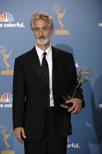David Strathairn poses with the award for outstanding supporting actor in a miniseries or movie during the 62nd Primetime Emmy Awards Sunday, Aug. 29, 2010, in Los Angeles (AP Photo/Chris Pizzello)