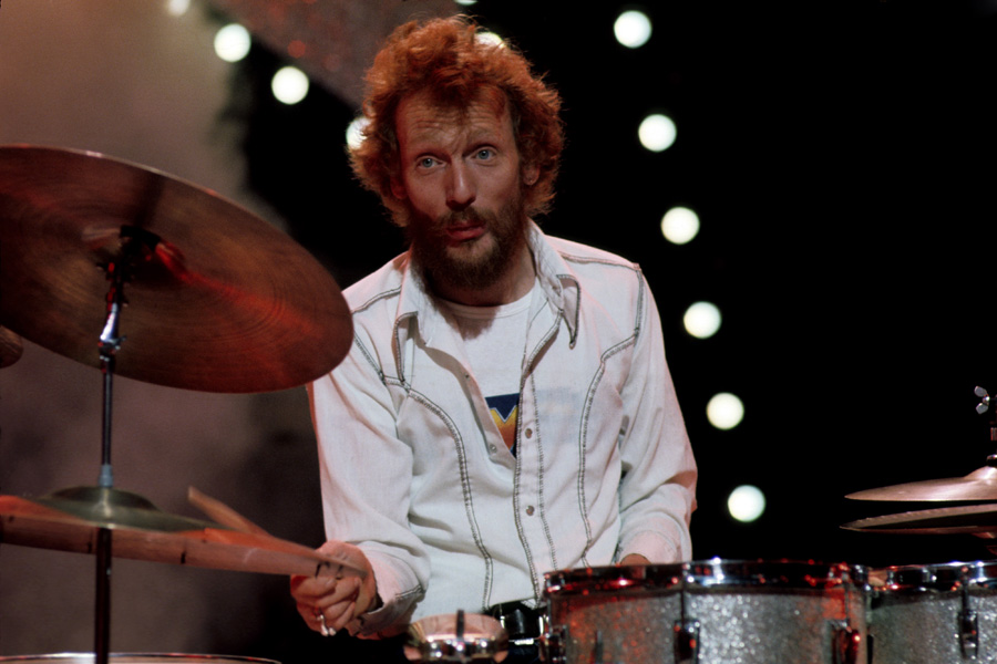 Drummer Ginger Baker of Cream during a performance, circa 1967