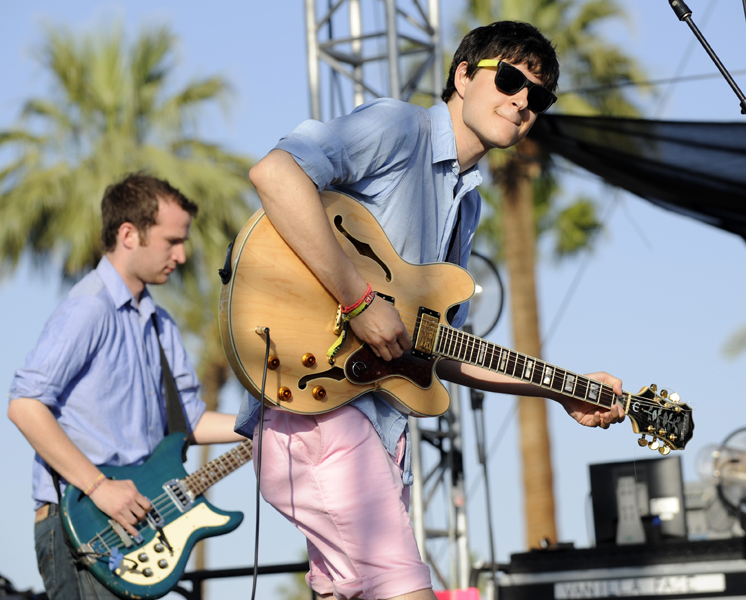 Ezra Koenig, right, and Chris Baio of Vampire Weekend perform during the band's set on the first day of the Coachella Valley Music and Arts Festival in Indio, Calif., Friday, April 25, 2008. (AP Photo/Chris Pizzello)