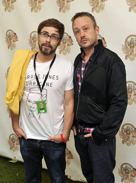 Basement Jaxx pose backstage on the first day of the Isle of Wight festival, in Newport on the Isle of Wight.