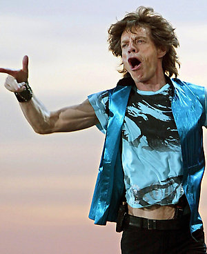PA PHOTOS/DPA - UK USE ONLY:  Mick Jagger, frontman of the legendary British rock band 'The Rolling Stones', performs on an open-air stage during a concert in Hanover, Germany. It was the final concert in Germany of the band's 'Licks' world tour.