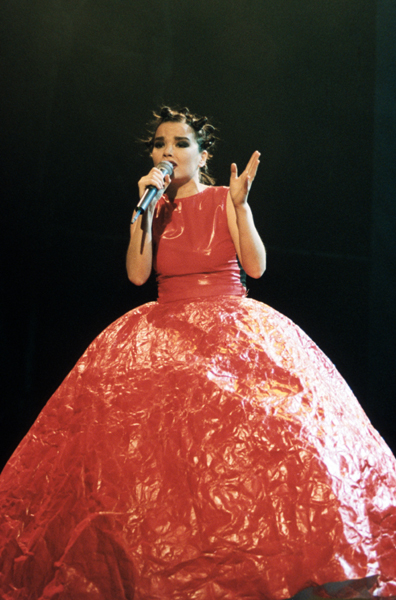 Singer Bjork performing on stage at the 1994 MTV Europe Music Awards ceremony