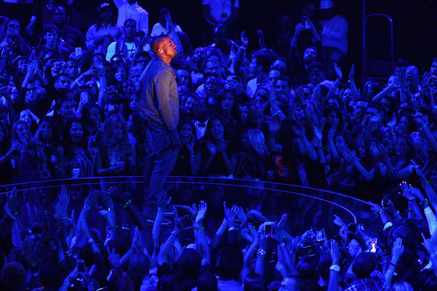 Kanye West performs on stage at the MTV Video Music Awards on Sunday, Aug. 25, 2013, at the Barclays Center in the Brooklyn borough of New York. (Photo by Charles Sykes/Invision/AP)