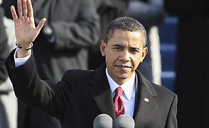 President Barack Obama waves before giving his inaugural address at the U.S. Capitol in Washington, Tuesday, Jan. 20, 2009. (AP Photo/Ron Edmonds)