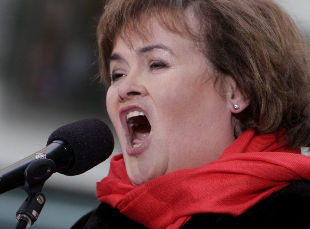"Susan Boyle performs on the NBC ""Today"" television program in New York Tuesday, Nov. 23, 2010. (AP Photo/Richard Drew)"