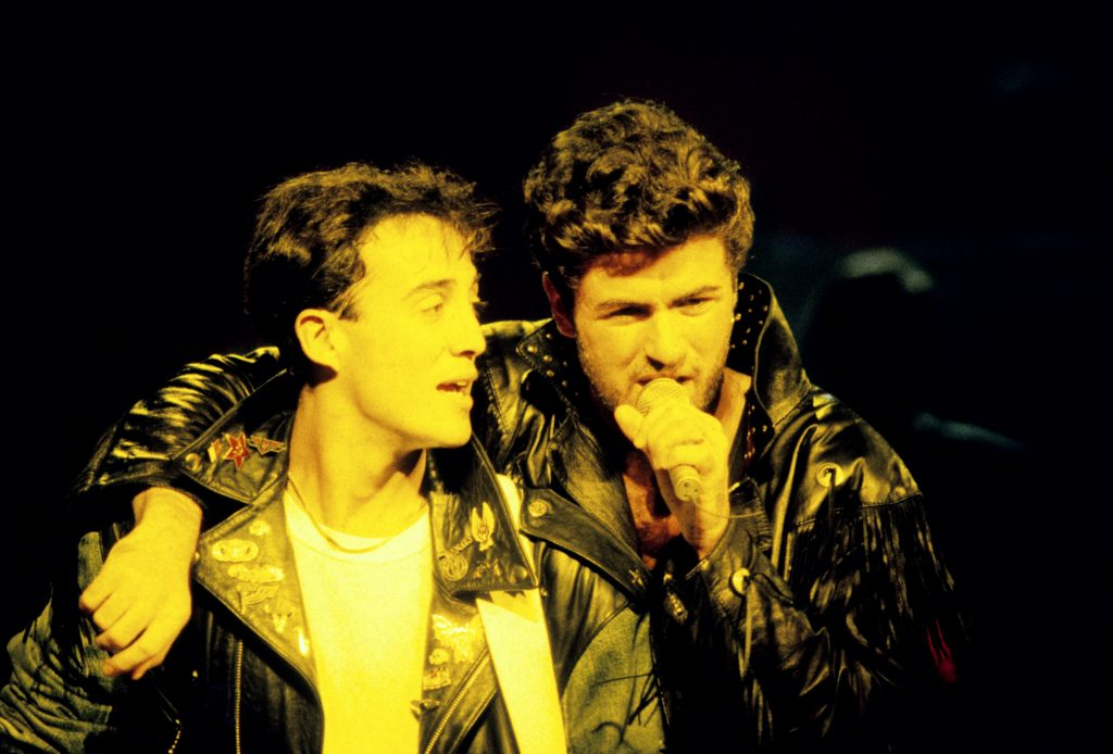 British pop duo Wham! performing live on stage.