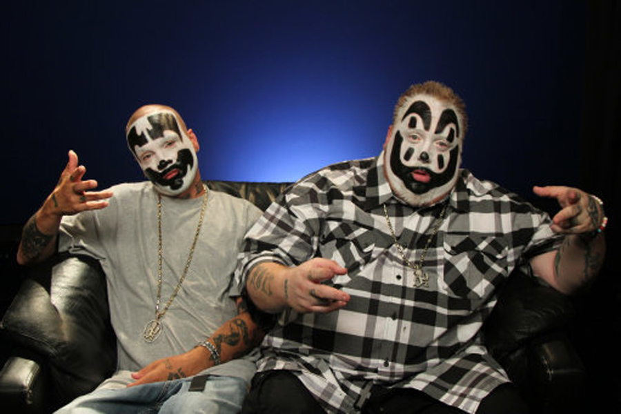 This July 29, 2013 photo shows Joseph Utsler, also known as Shaggy 2 Dope, left, and Joseph Bruce, also known as Violent J, from Insane Clown Posse, in New York. On their FUSE TV weekly show, the Detroit-area rappers critique all things pop culture, claiming to bring an outsiders perspective. A good part of the show has the guys critiquing music videos, much like Beavis and Butthead from a generation ago. (AP Photo/John Carucci)